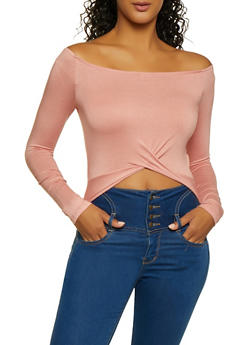 Off the Shoulder Twist Front Top - 3034054261647