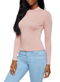 Mock Neck Long Sleeve Top - 3034054261660