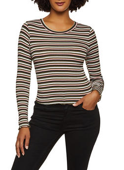Lettuce Edge Striped Rib Knit Top - 3034054261670