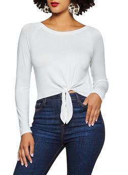 Long Sleeve Tie Front Top - 3034054261673