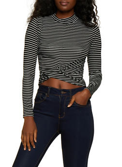 Striped Twist Front Long Sleeve Top - 3034054261696