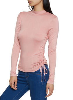 Drawstring Side Mock Neck Top - 3034054261709