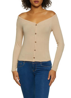 Ribbed Button Detail Top - 3034054261721