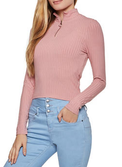 Zip Neck Ribbed Knit Top - 3034054261730