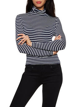Long Sleeve Striped Turtleneck Top - 3034054261745