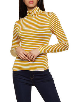 Long Sleeve Striped Turtleneck Top - 3034054261745