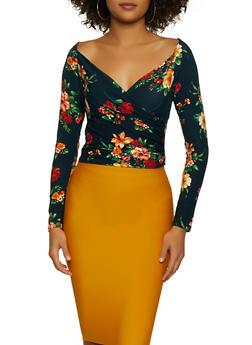 Faux Wrap Floral Top - 3034054262672