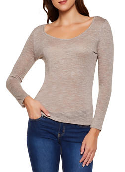 Marled Scoop Neck Top - 3034054267025