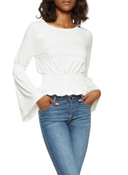 Smocked Waist Bell Sleeve Top - 3034058750122