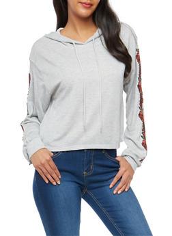 Floral Applique Hooded Sweatshirt - 3034058750299