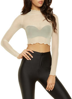 Cropped Mesh Top - 3034058750363
