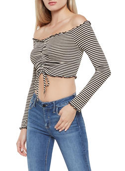 Drawstring Front Striped Off the Shoulder Top - 3034058750385