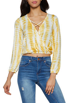 Tie Dye Caged Faux Wrap Top - 3034058750406
