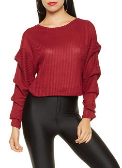 Ruched Sleeve Knit Top - 3034058751032