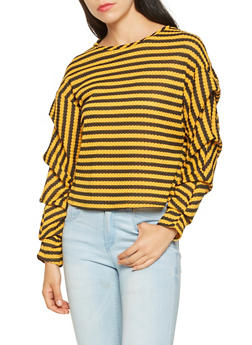 Striped Bubble Sleeve Blouse - 3034058751033