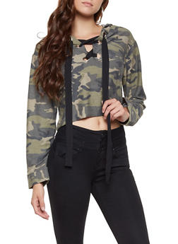 Lace Up Hooded Camo Top - 3034058751034