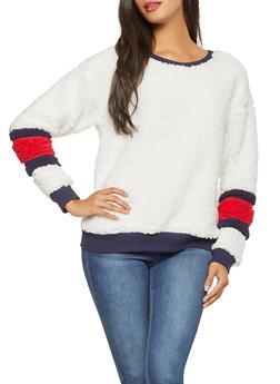 Striped Detail Sherpa Sweatshirt - 3034058751105