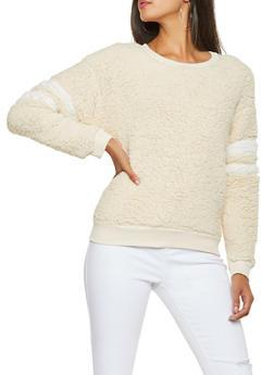Varsity Stripe Sherpa Sweatshirt - 3034058751201
