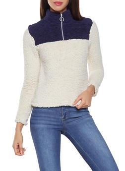 Color Block Half Zip Sweatshirt - 3034058751203