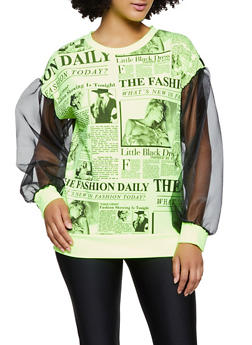 Newspaper Print Organza Long Sleeve Top - NEON LIME - 3034058751213