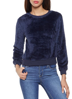 Faux Fur Crew Neck Sweatshirt - 3034058751330