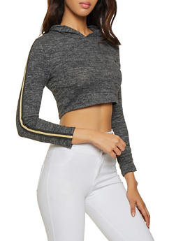 Glitter Striped Trim Knit Crop Top - 3034058751968
