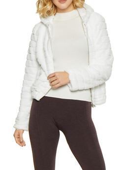 Hooded Faux Fur Jacket - IVORY - 3034058752043