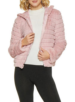Hooded Faux Fur Jacket - MAUVE - 3034058752043