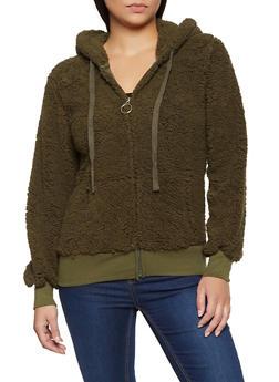 Zip Front Sherpa Sweatshirt - 3034058752351