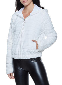 Faux Fur Hooded Zip Up Sweatshirt - 3034058752353