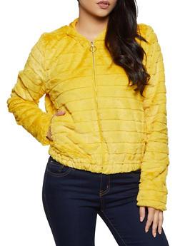 Faux Fur Hooded Zip Up Sweatshirt - 3034058752353