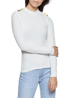 Mock Neck Brushed Rib Knit Top - 3034058752576