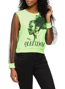 Mesh Sleeve Queendom Graphic Top - 3034058752670