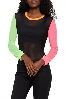 Color Block Mesh Top - 3034058753690