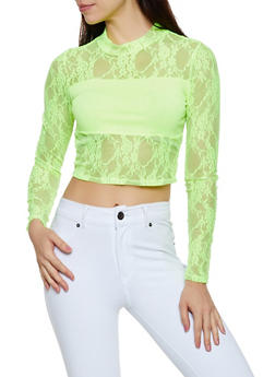 Lace Mock Neck Crop Top - 3034058753695