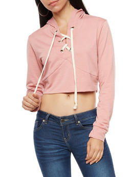 Lace Up Cropped Hoodie - 3034067330116