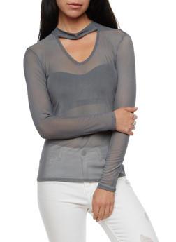 Long Sleeve Mesh Choker Top - 3034067330119
