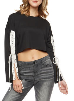 Crop Top with Long Lace Up Sleeves - 3034067330221