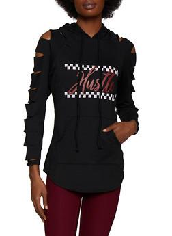Hustle Laser Cut Sleeve Sweatshirt - 3034074290047