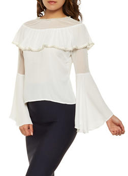 Faux Pearl Trim Bell Sleeve Top - 3034074291134