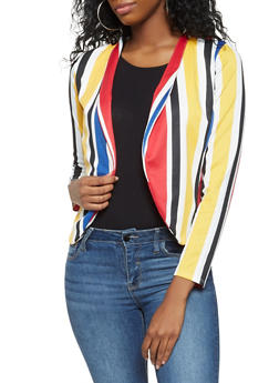 Striped Open Front Blazer - 3034074292009