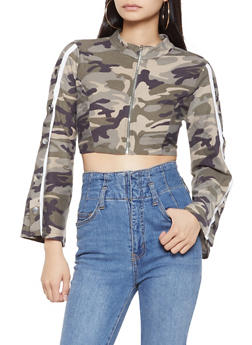 Flyaway Sleeve Camo Crop Top - 3034074292029