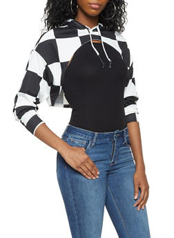 Checkered Open Front Hooded Top - 3034074292031