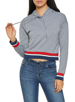 Striped Rib Knit Trim Sweatshirt - 3034074292036