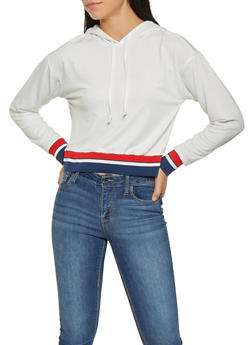 Striped Rib Knit Trim Sweatshirt - 3034074292036