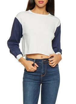 Linen Sleeve Cropped Sweatshirt - 3034074292052