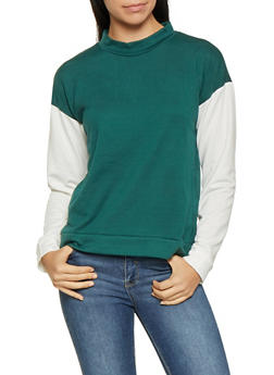 Color Block Mock Neck Top - 3034074292056