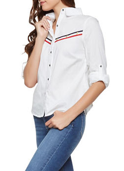 Striped Trim Button Front Shirt - 3034074292077
