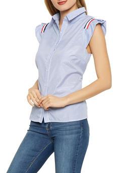 Striped Cap Sleeve Shirt - 3034074292080