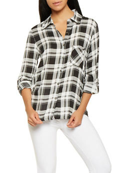 Plaid Roll Cuff Shirt - 3034074292108